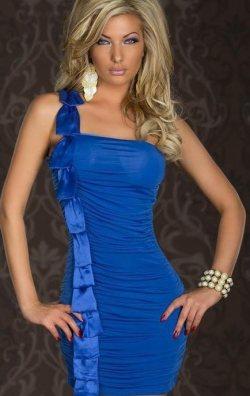 Tek Omuz Mavi Elbise