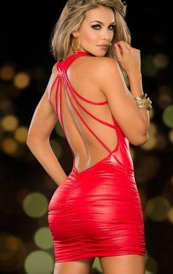 Kırmızı Deri Elbise