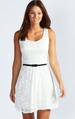Askılı Model Fırfırlı Dantel Elbise