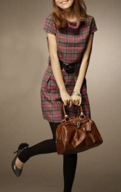 Pembe Ekoseli Japon Style Elbise