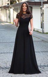 Siyah Dantel Detaylı Şifon Uzun Abiye Elbise