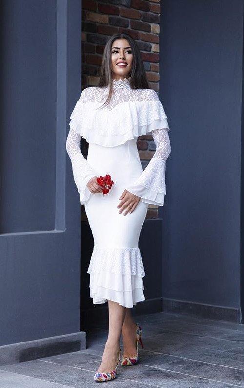 İspanyol Model Beyaz Dantel Abiye Elbise