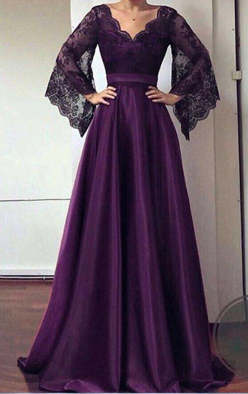 Mor Dantel Detay Saten Uzun Abiye Elbise