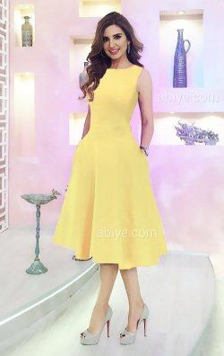 Sarı Cepli Midi Abiye Elbise
