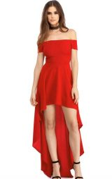 Kırmızı Seksi Asimetrik Elbise