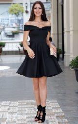 Kalp Yaka Siyah Abiye Elbise