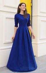 Saks Mavi Uzun Pileli Abiye Elbise