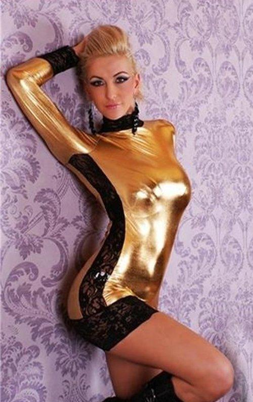 Gold Dantelli Seksi Lame Deri Elbise