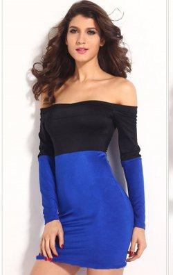 Uzun Kollu Çift Renk Seksi Mini Elbise