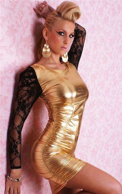 Gold Kolları Dantelli Parlak Deri Mini Elbise