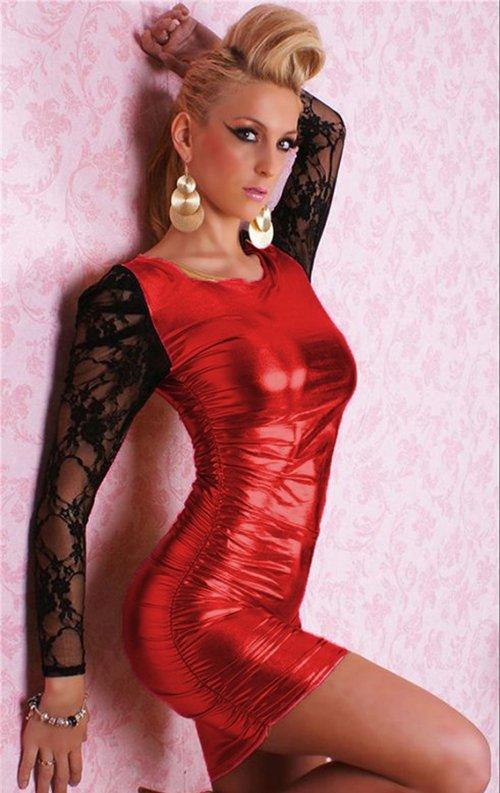 Kırmızı Kolları Dantelli Parlak Deri Mini Elbise