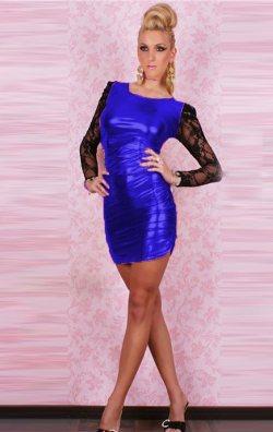 Saks Kolları Dantelli Parlak Deri Mini Elbise