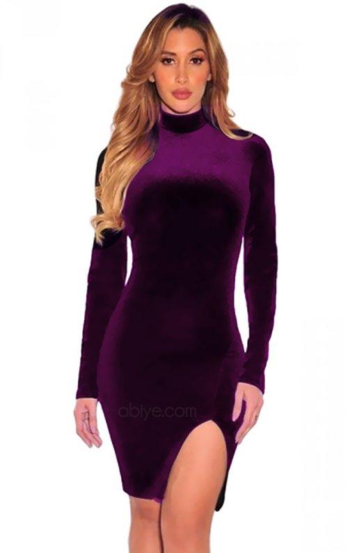 Mor Uzun Kol Yırtmaçlı Mini Kadife Elbise