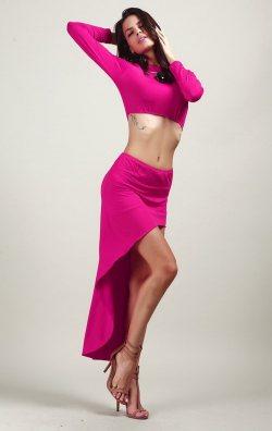 Fuşya Uzun Kollu İki Parça Asimetrik Elbise
