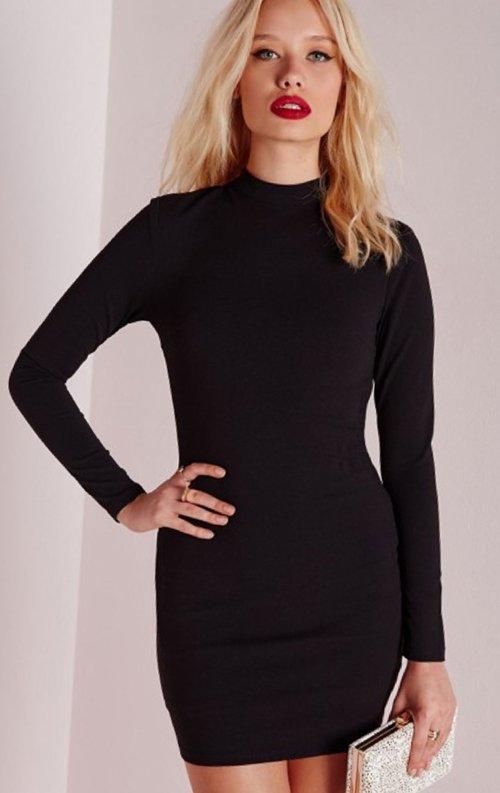 Siyah Uzun Kollu Fantazi Mini Elbise