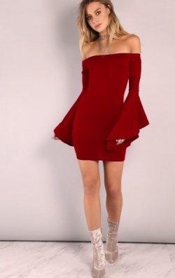 İspanyol Kollu Straplez Mini Elbise