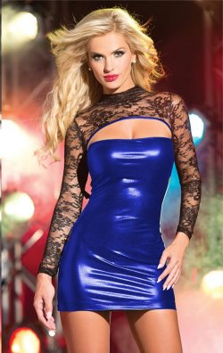 Mavi lame deri detaylı mini dantel elbise