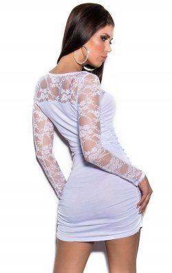 Beyaz Dantelli Club Model Mini Elbise