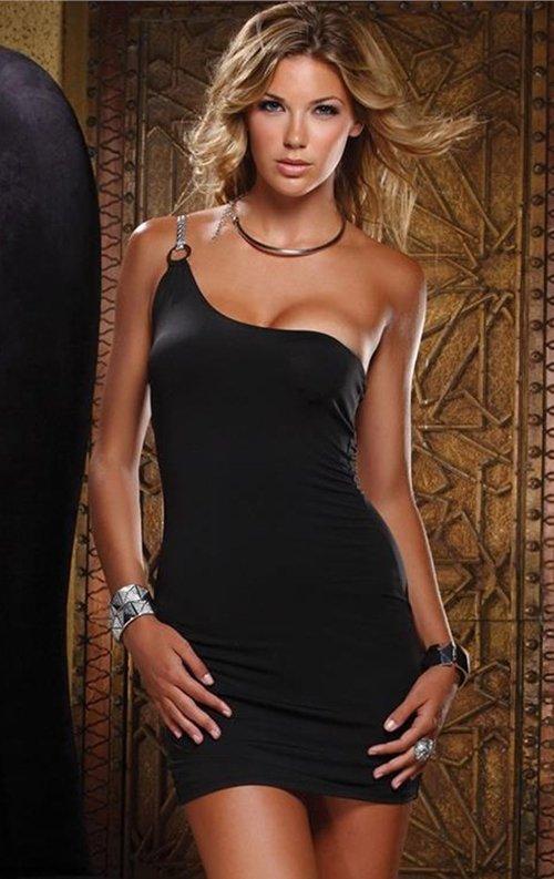 Siyah Tek Omuz Mini Elbise