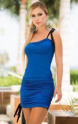 Mavi Tek Omuz Mini Elbise