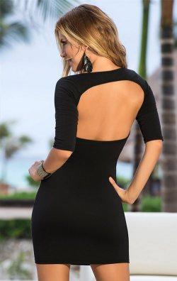 Sırtı Pencere Dekolteli Mini Elbise