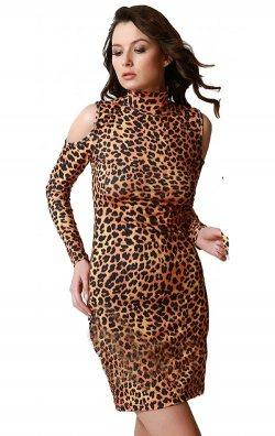Omuzu Açık Leopar Desen Midi Elbise