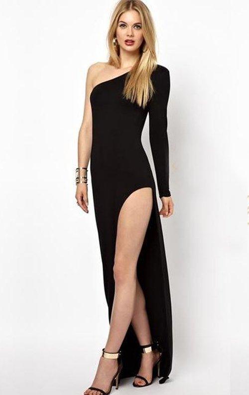 Derin Yırtmaçlı Uzun Seksi Elbise