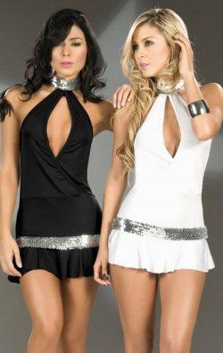 Fırfırlı Payet Şeritli Seksi Mini Elbise