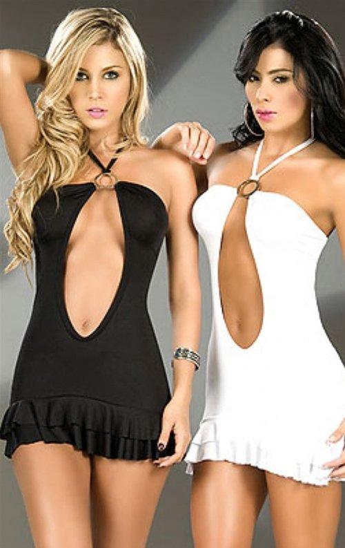 Fırfırlı Göğüs Dekolteli Mini Elbise