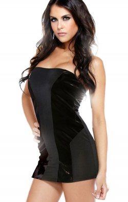 Straplez Parlak Detay Mini Elbise
