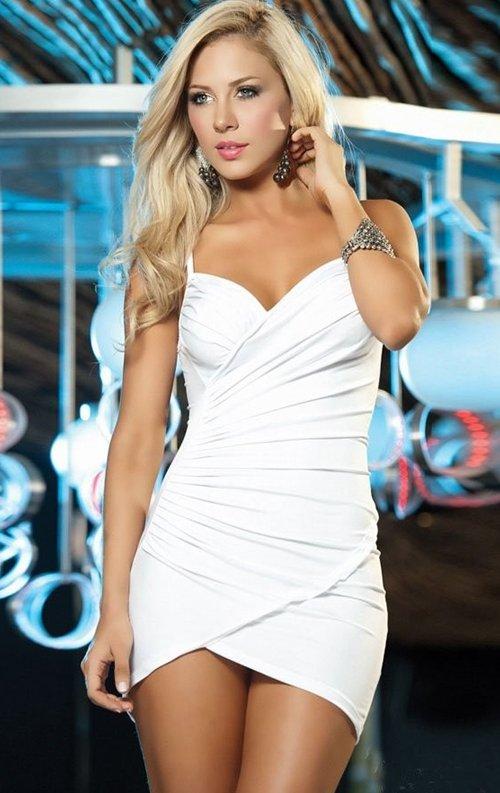 Beyaz Dolgusuz Büzgülü Mini Elbise