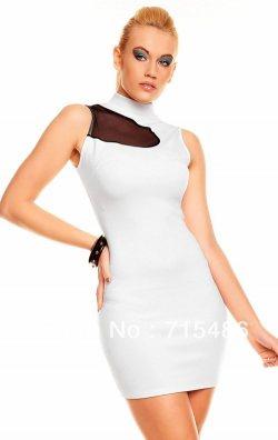 Beyaz Kolsuz Tasarım Mini Elbise