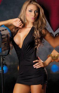 Siyah Degajeli Önü Büzgülü Mini Elbise