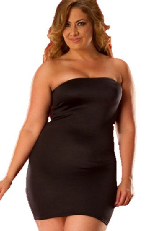 Büyük Beden Seksi Straplez Elbise