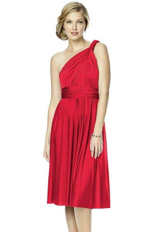 Farklı Modellere Dönüşebilen Kırmızı Midi Elbise
