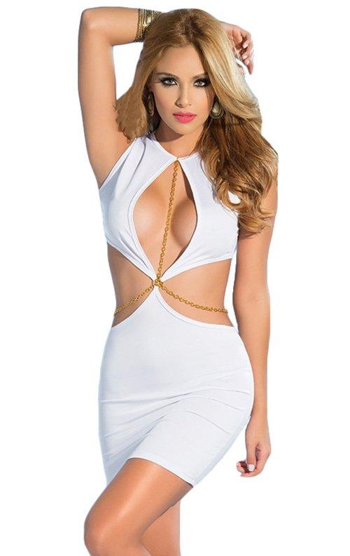 Zincirli Derin Dekolteli Seksi Mini Elbise