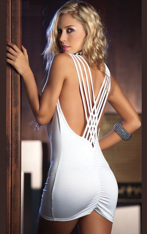 Beyaz Sırt Dekolteli Seksi Mini Elbise
