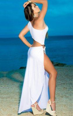 Beyaz Derin Yırtmaçlı Uzun Seksi Elbise