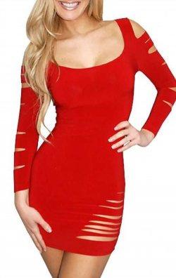 Lazer Kesim Kırmızı Yırtık Mini Elbise