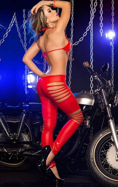 Kırmızı Seksi Deri Tulum Elbise