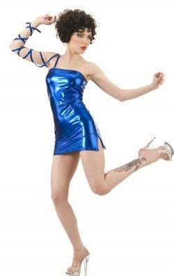 Saks Parlak Lame Deri Mini Elbise