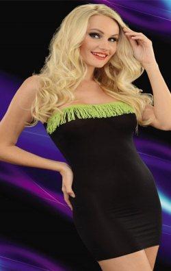 Püsküllü Yeşil Siyah Straplez Mini Elbise