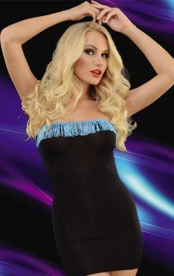 Püsküllü Mavi Siyah Straplez Mini Elbise