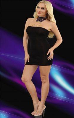 Zincir Askılı Straplez Mini Club Elbise