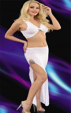 Beyaz Uzun 2 Parça Uzun Elbise