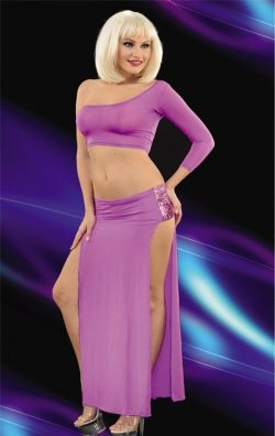 Mor Çift Yırtmaçlı Uzun Club Elbise