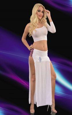 Beyaz Çift Yırtmaçlı Uzun Club Elbise