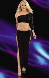Siyah Çift Yırtmaçlı Uzun Club Elbise