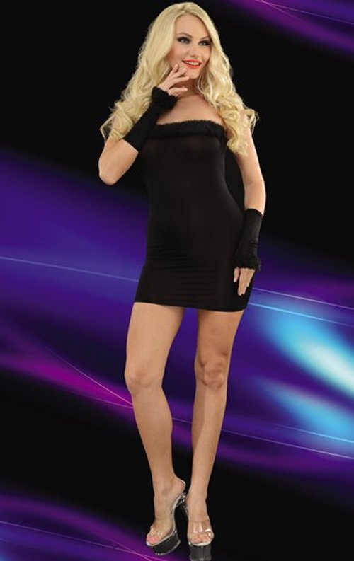 Siyah Eldivenli Straplez Mini Elbise