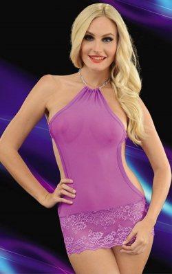 Transparan Gecelik Style Dantel Mini Elbise